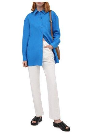 Женская льняная рубашка LORO PIANA синего цвета, арт. FAL5890 | Фото 2