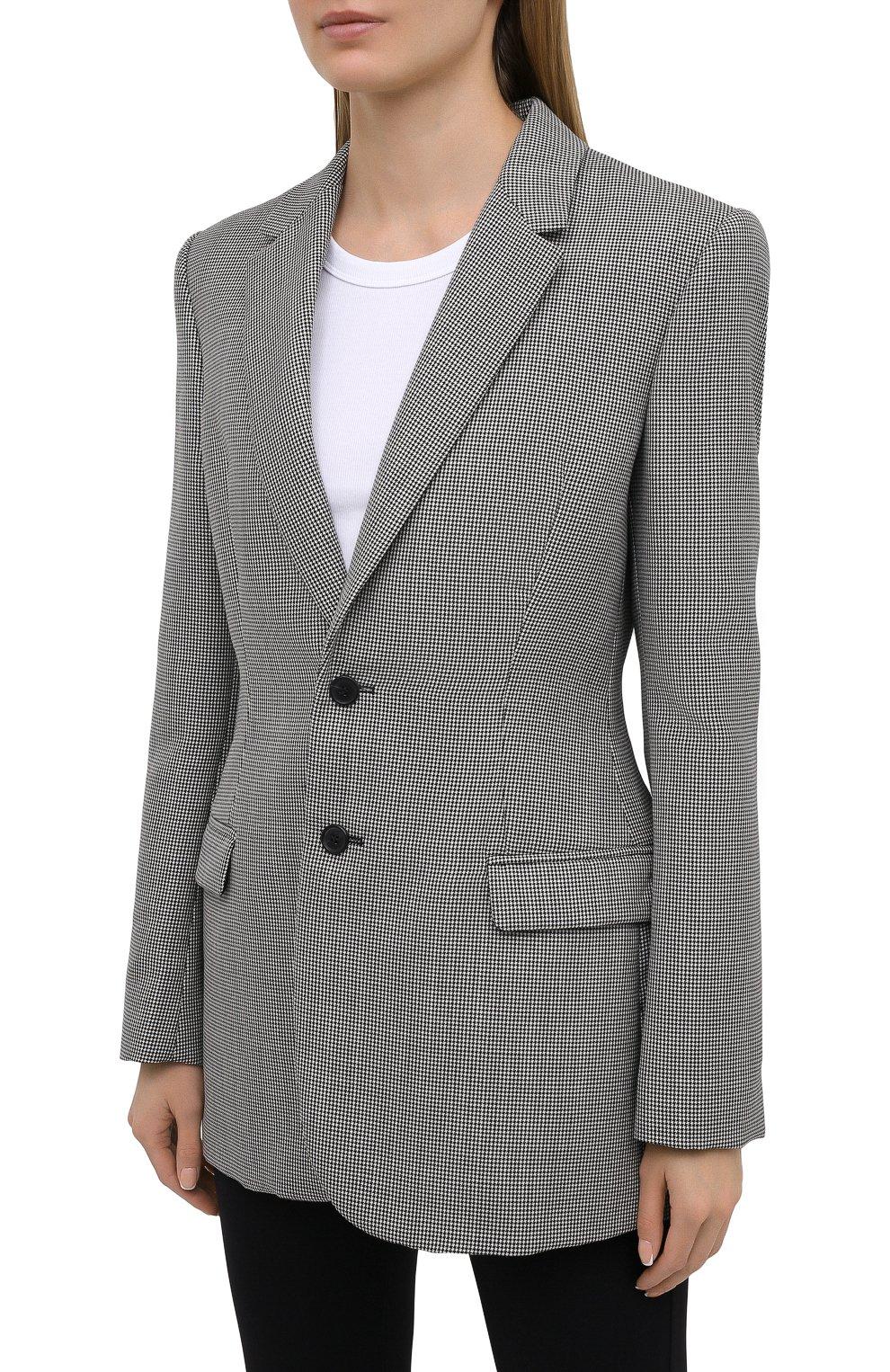 Женский шерстяной жакет WARDROBE.NYC черно-белого цвета, арт. W4015HTPC | Фото 3 (Материал внешний: Шерсть; Рукава: Длинные; Случай: Повседневный; Длина (для топов): Удлиненные; 1-2-бортные: Однобортные; Женское Кросс-КТ: Жакет-одежда; Материал подклада: Купро; Стили: Кэжуэл)