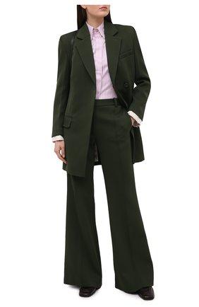 Женская рубашка из хлопка и шелка VICTORIA BECKHAM сиреневого цвета, арт. 1121WSH002516A | Фото 2