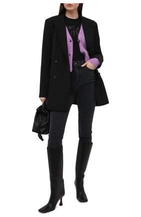 Женская хлопковая футболка VERSACE JEANS COUTURE черного цвета, арт. B2HWA7TA-WDP608 L0G0 PLAS/30454 | Фото 2