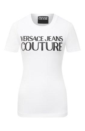 Женская хлопковая футболка VERSACE JEANS COUTURE белого цвета, арт. B2HWA7TA-WDP608 L0G0 PLAS/30454 | Фото 1