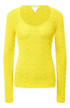 Женский хлопковый пуловер BOTTEGA VENETA желтого цвета, арт. 647743/V0DW0   Фото 1