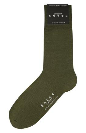 Мужские носки airport из шерсти и хлопка FALKE хаки цвета, арт. 14435 | Фото 1