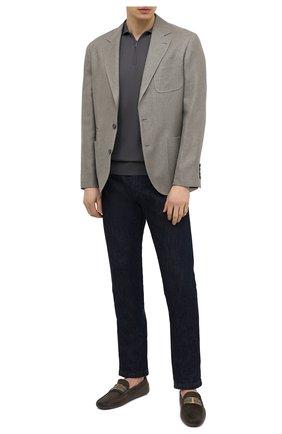 Мужские замшевые мокасины TOD'S хаки цвета, арт. XXM0GW0CT56MUG | Фото 2 (Материал внутренний: Натуральная кожа; Стили: Кэжуэл; Материал внешний: Замша)