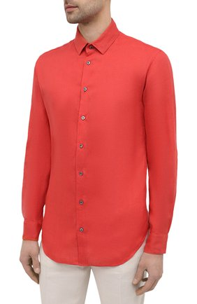 Мужская льняная рубашка GIORGIO ARMANI красного цвета, арт. 8WGCCZ97/TZ256   Фото 3