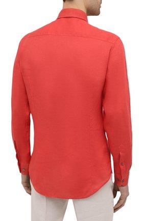 Мужская льняная рубашка GIORGIO ARMANI красного цвета, арт. 8WGCCZ97/TZ256   Фото 4
