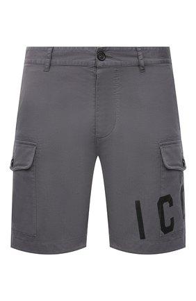 Мужские хлопковые шорты DSQUARED2 темно-серого цвета, арт. S79MU0009/S35175 | Фото 1 (Стили: Гранж; Мужское Кросс-КТ: Шорты-одежда; Материал внешний: Хлопок; Длина Шорты М: До колена; Принт: С принтом)