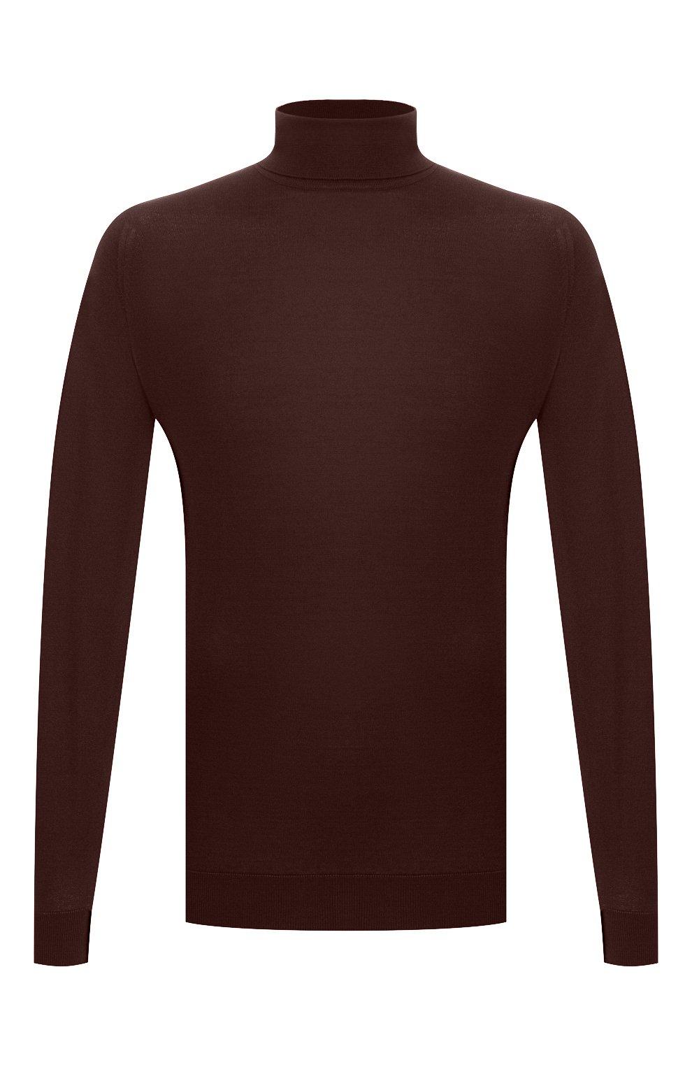 Мужской хлопковая водолазка JOHN SMEDLEY темно-коричневого цвета, арт. HAWLEY | Фото 1 (Рукава: Длинные; Принт: Без принта; Длина (для топов): Стандартные; Материал внешний: Хлопок; Мужское Кросс-КТ: Водолазка-одежда; Стили: Кэжуэл)