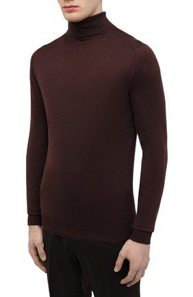 Мужской хлопковая водолазка JOHN SMEDLEY темно-коричневого цвета, арт. HAWLEY | Фото 3 (Рукава: Длинные; Принт: Без принта; Длина (для топов): Стандартные; Материал внешний: Хлопок; Мужское Кросс-КТ: Водолазка-одежда; Стили: Кэжуэл)