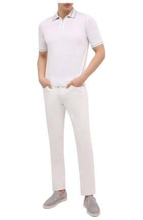 Мужское поло из хлопка и шелка ZILLI белого цвета, арт. MBV-PZ002-C0SE1/MC01   Фото 2