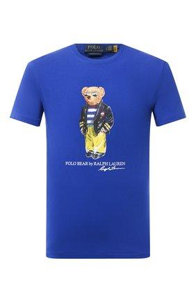 Мужская хлопковая футболка POLO RALPH LAUREN синего цвета, арт. 710837306 | Фото 1