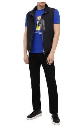 Мужская хлопковая футболка POLO RALPH LAUREN синего цвета, арт. 710837306 | Фото 2