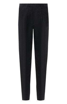 Мужские брюки GIORGIO ARMANI темно-серого цвета, арт. 1SGPP0I2/T02KM | Фото 1 (Материал подклада: Синтетический материал; Стили: Кэжуэл; Случай: Повседневный; Длина (брюки, джинсы): Стандартные; Материал внешний: Купро)