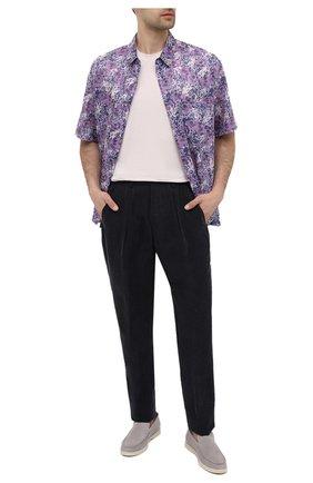 Мужские брюки GIORGIO ARMANI темно-серого цвета, арт. 1SGPP0I2/T02KM | Фото 2 (Материал подклада: Синтетический материал; Стили: Кэжуэл; Случай: Повседневный; Длина (брюки, джинсы): Стандартные; Материал внешний: Купро)
