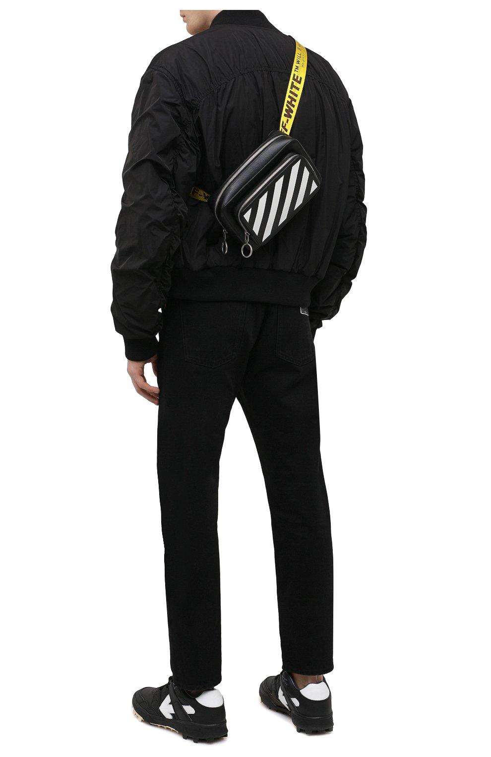 Мужская кожаная поясная сумка OFF-WHITE черного цвета, арт. 0MN0002R21LEA001 | Фото 2 (Материал: Натуральная кожа; Ремень/цепочка: На ремешке)