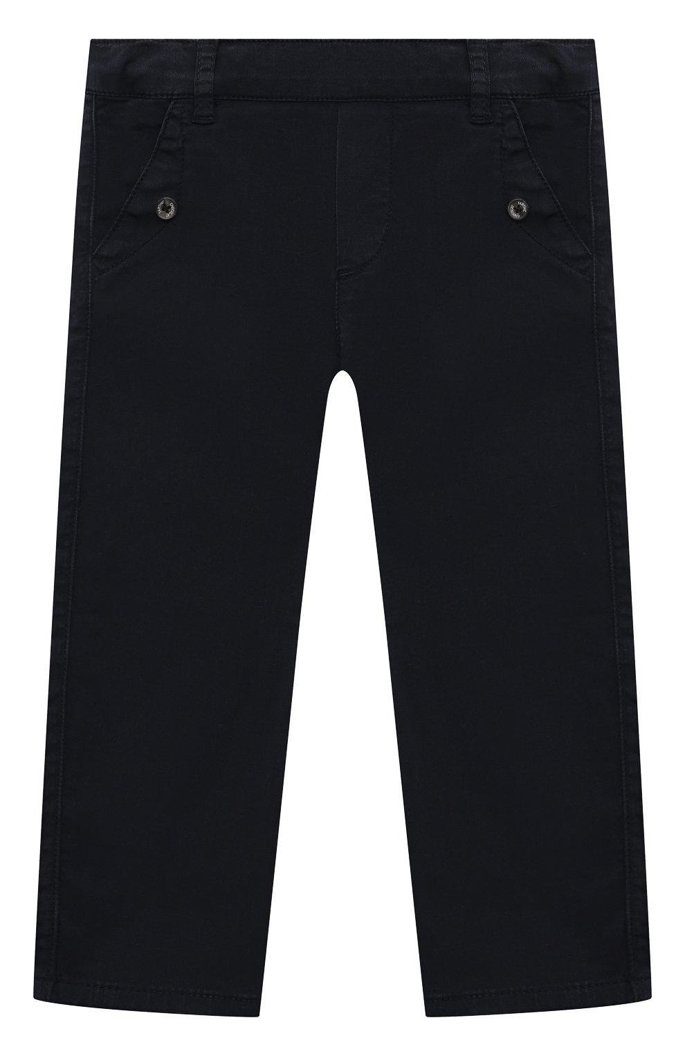 Детские хлопковые брюки TARTINE ET CHOCOLAT темно-синего цвета, арт. TS22051/18M-3A | Фото 1 (Материал внешний: Хлопок; Ростовка одежда: 18 мес | 86 см, 24 мес | 92 см, 36 мес | 98 см)