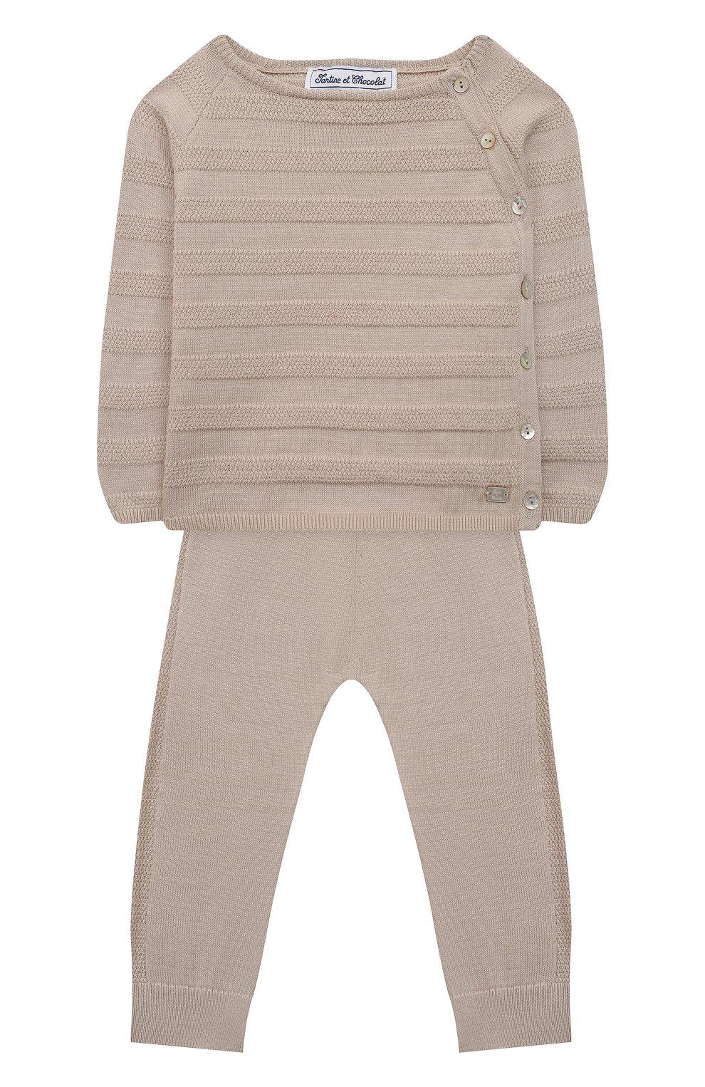 Детский комплект из пуловера и брюк TARTINE ET CHOCOLAT бежевого цвета, арт. TS36011/1M-1A | Фото 1