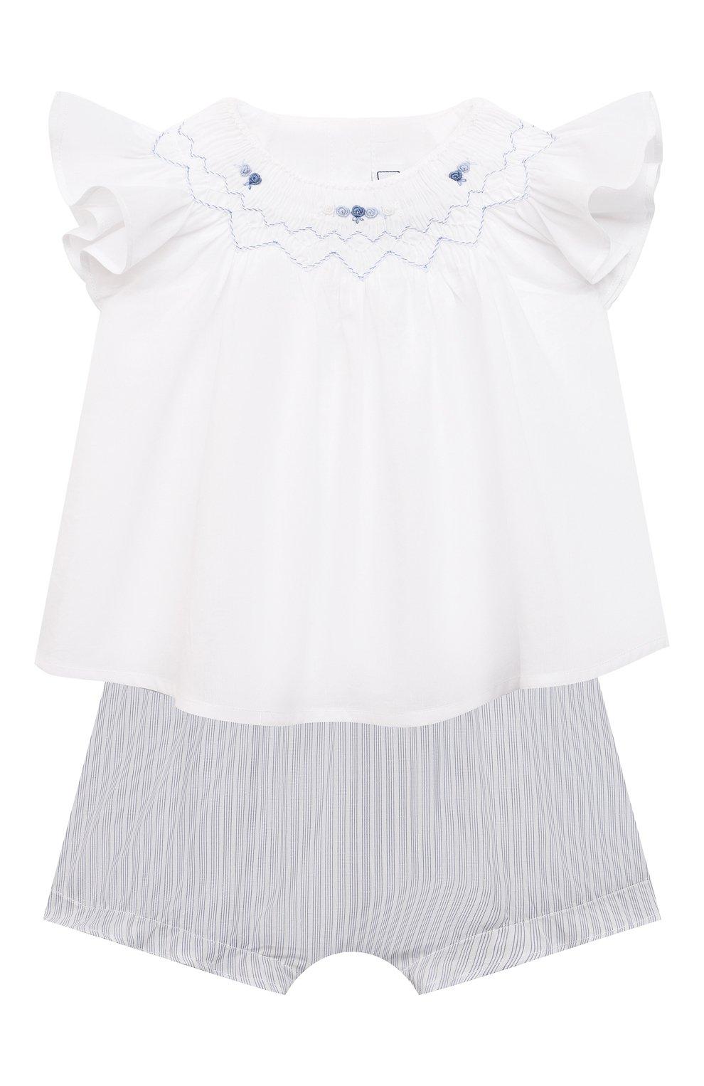 Детский комплект из блузы и шорт TARTINE ET CHOCOLAT белого цвета, арт. TS37031/1M-9M | Фото 1