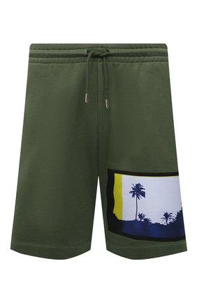 Мужские хлопковые шорты DRIES VAN NOTEN зеленого цвета, арт. 211-21112-2609 | Фото 1