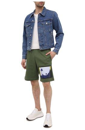 Мужские хлопковые шорты DRIES VAN NOTEN зеленого цвета, арт. 211-21112-2609 | Фото 2