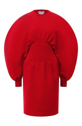 Женское платье BOTTEGA VENETA красного цвета, арт. 650768/V0CX0   Фото 1 (Стили: Кэжуэл; Рукава: Длинные; Материал внешний: Шерсть; Случай: Повседневный; Кросс-КТ: Трикотаж; Женское Кросс-КТ: Платье-одежда; Длина Ж (юбки, платья, шорты): Мини)