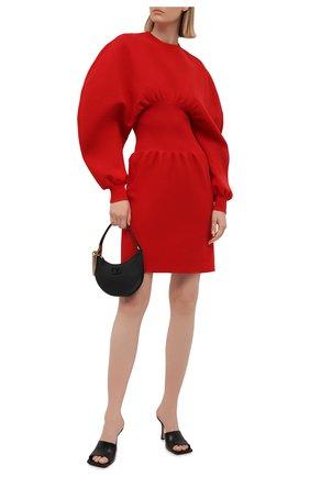 Женское платье BOTTEGA VENETA красного цвета, арт. 650768/V0CX0   Фото 2 (Стили: Кэжуэл; Рукава: Длинные; Материал внешний: Шерсть; Случай: Повседневный; Кросс-КТ: Трикотаж; Женское Кросс-КТ: Платье-одежда; Длина Ж (юбки, платья, шорты): Мини)