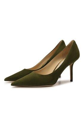 Женские замшевые туфли love 85 JIMMY CHOO хаки цвета, арт. L0VE 85/BWJ | Фото 1