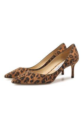 Женские замшевые туфли romy 60 JIMMY CHOO леопардового цвета, арт. R0MY 60/LPU | Фото 1