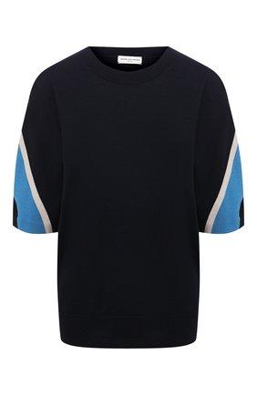 Женская шерстяная футболка DRIES VAN NOTEN темно-синего цвета, арт. 211-31292-2701 | Фото 1