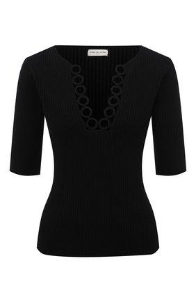 Женский хлопковый пуловер DRIES VAN NOTEN черного цвета, арт. 211-31250-2705 | Фото 1