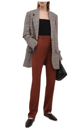 Женские хлопковые брюки BOSS коричневого цвета, арт. 50447307 | Фото 2