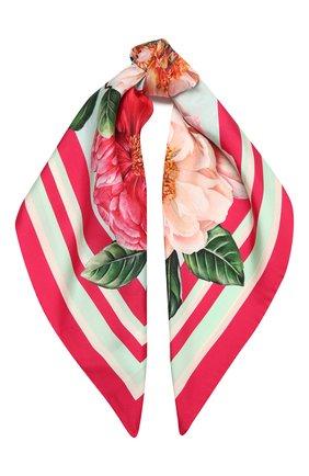 Женский шелковый платок DOLCE & GABBANA розового цвета, арт. FN092R/GDV60   Фото 1