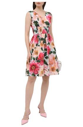 Женское хлопковое платье DOLCE & GABBANA розового цвета, арт. F6J7HT/HS5H9 | Фото 2