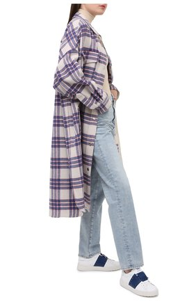 Женские кожаные кеды valentino garavani rockstud untitled VALENTINO синего цвета, арт. VW2S0A01/LTU | Фото 2