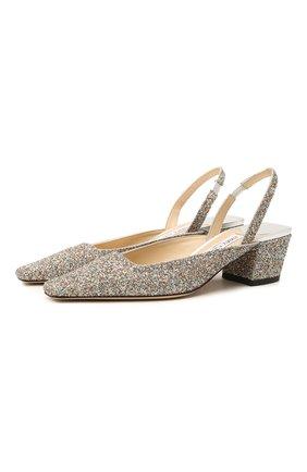 Женские текстильные туфли gini 45 JIMMY CHOO серебряного цвета, арт. GINI 45/J0Y | Фото 1