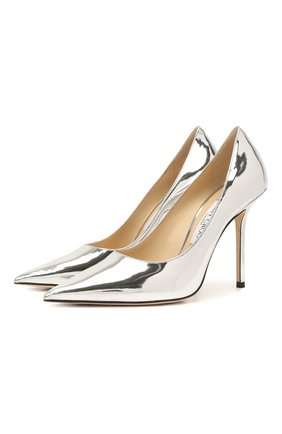Женские кожаные туфли love 100 JIMMY CHOO серебряного цвета, арт. L0VE 100/QUI   Фото 1