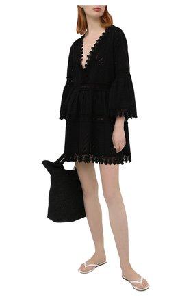 Женская хлопковая туника MELISSA ODABASH черного цвета, арт. VICT0RIA | Фото 2