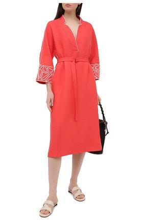Женское льняное платье LORO PIANA красного цвета, арт. FAL6299 | Фото 2