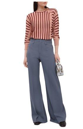Женские шерстяные брюки CHLOÉ голубого цвета, арт. CHC21SPA06066 | Фото 2