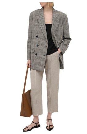 Женские льняные брюки EMPORIO ARMANI бежевого цвета, арт. ANP44T/A2026 | Фото 2