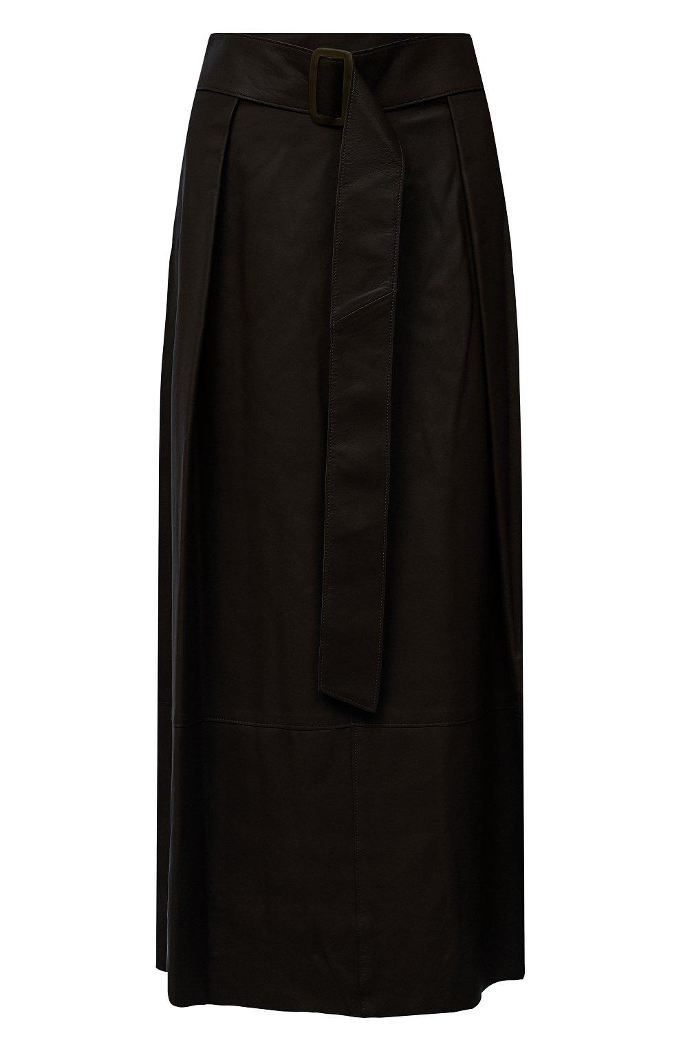 Женская кожаная юбка VINCE хаки цвета, арт. V690030642   Фото 1