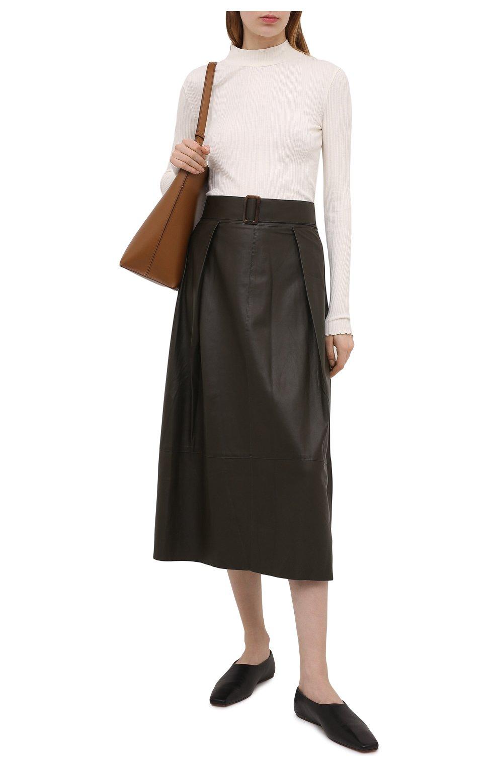 Женская кожаная юбка VINCE хаки цвета, арт. V690030642   Фото 2