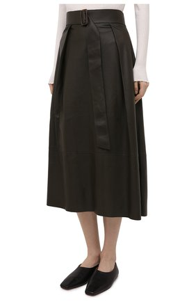 Женская кожаная юбка VINCE хаки цвета, арт. V690030642   Фото 3