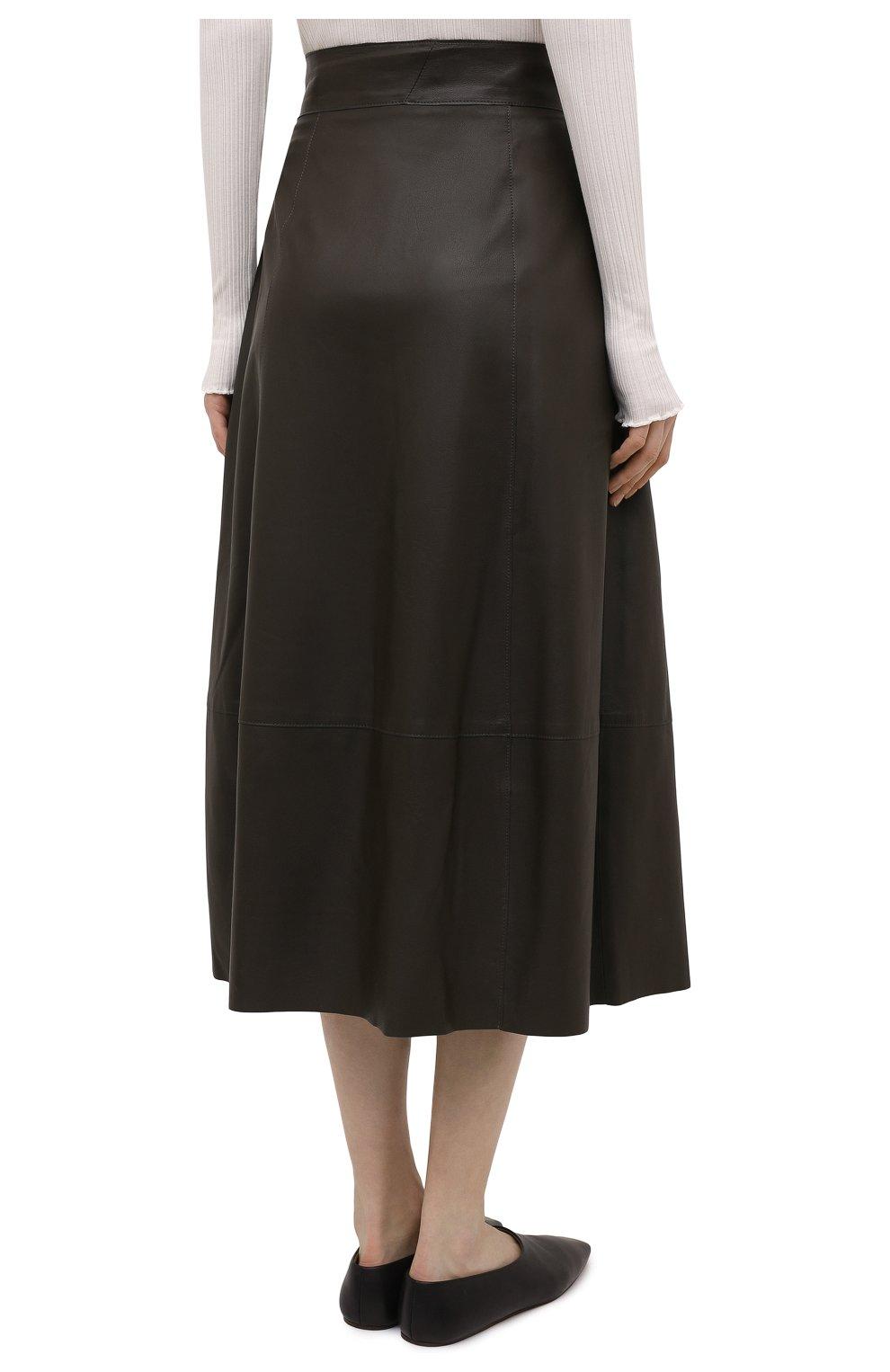 Женская кожаная юбка VINCE хаки цвета, арт. V690030642   Фото 4
