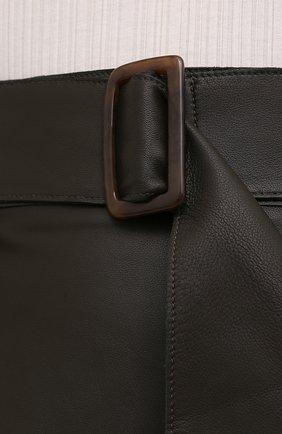 Женская кожаная юбка VINCE хаки цвета, арт. V690030642   Фото 5