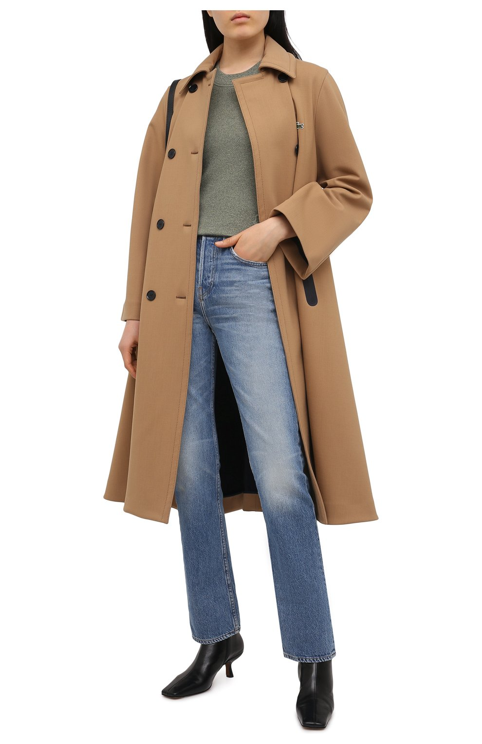 Женский пуловер из шерсти и хлопка KENZO хаки цвета, арт. FB52PU5553AB | Фото 2