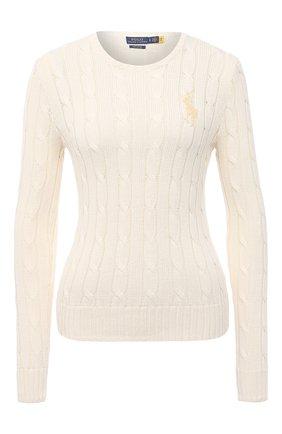 Женский хлопковый пуловер POLO RALPH LAUREN бежевого цвета, арт. 211838164 | Фото 1
