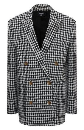 Женский шерстяной жакет BALMAIN черно-белого цвета, арт. UF17319/W090 | Фото 1