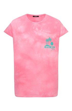 Женская хлопковая футболка BALMAIN розового цвета, арт. VF11351/B502 | Фото 1