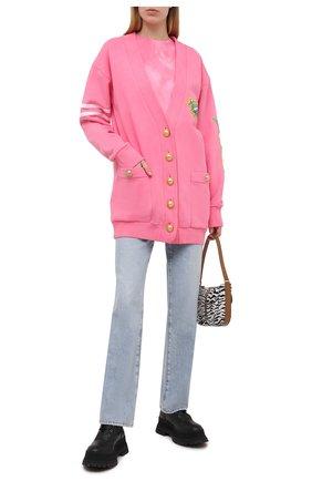 Женская хлопковая футболка BALMAIN розового цвета, арт. VF11351/B502 | Фото 2